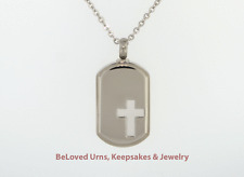 White Cross On Dog Tag Cremation Jewelry Pendant Keepsake Urn Memorial Necklace