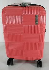 """American Tourister 20"""" Checkered Hardside Spinner Suitcase Coral New"""