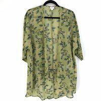 Lularoe Womens Size Small Lindsay Kimono Sheer Floral Print Green Multicolor