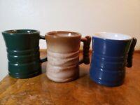 VINTAGE Set of 3 Frankoma Lazy Bones C3 Blue, Green, and Desert Gold Coffee Mugs