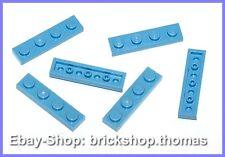 Lego 6 x Platte (1 x 4) - 3710 blau mittelblau - Medium Blue Plate - NEU / NEW