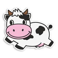 2 x 10cm Happy Cow Vinyl Stickers - Farm Kids Fun Cartoon Laptop Sticker #20790