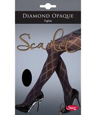 Silky Scarlet Diamond Opaque Tights
