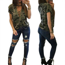 Womens Casual Camouflage T-Shirt CAMO Tops Summer Blouse Shirts Vest Tank Cami