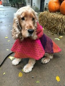 Handmade Multicolor Hooded Dog Sweater Poncho - All Sizes