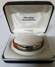 NEW Harley-Davidson Stamper leather bracelet with titanium bar and shield, #112