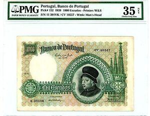 Portugal ... P-152 ... 100 Escudos ...1938 ...*VF-XF* PMG 35 (VF-XF)