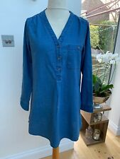 H&M Short Mini Cotton Linen Denim Look Dress/ Tunic Top Uk14