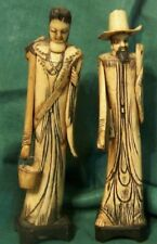 Antique Chinese Man and Woman Bone Statue Circa 1895 - 1905