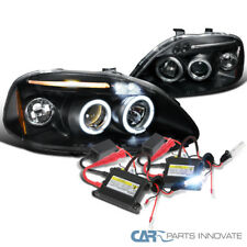 Fit 96-98 Civic Black Halo LED Projector Headlights+H1 6000K HID Conversion Kit