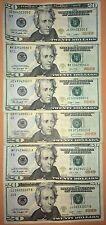 $20 DOLLAR BILLs, US Paper Money Bills, Federal Reserve Cash Bank Notes