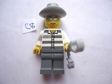 MINIFIGURE GREY LEGS STRIPED TORSO WITH HANDCUFFS & GREY STETSON (C8)