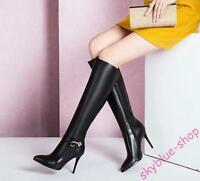 Ladies Black Genuine Leather Stiletto High Heels Zip Up Pump Knee High Boots New