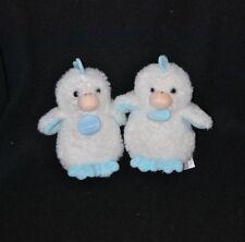 Lot 2 peluche poussin blanc bleu DOUDOU ET COMPAGNIE grelot 14 cm NEUF