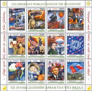 Mongolia 2001 World Events/Lenin/Einstein/Gagarin/WWII/Tanks/War 10v sht n21738b