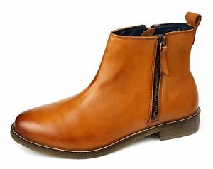 Womens Ankle Boots Low Mid Leather Tan Brown Chelsea Zip Up Size 4 5 6 7 8 9