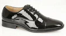 Goor Nelson Pleated Cap Patent Oxford Tie Lace Shoes Black Patent PU