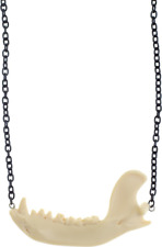 60153 Raccoon Jaw Necklace Faux Taxidermy Punk Rock Goth Animal Bone Sourpuss