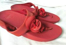 FITFLOP Red Leather Flower Decor Toe Post Wobble Board Sandals Size UK 8 EUR 42