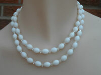 Vintage Double Strand White Plastic Beaded Necklace