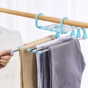 5 in1 Multi-functional Pant Rack Shelves Stainless Wardrobe Steel Hangers W7B5