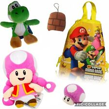 Super Mario Plush Yoshi Toadette Mushroom Luigi Backpack Toys Gift Pack Set