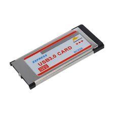 2 Port USB 3.0 Express Card Adapter Hub Cardbus for Laptop V8S8