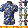 Men's Floral Short Sleeve Hawaiian T-shirt Summer Beach Casual Dress Shirt Tops