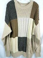 Orvis Mens Sweater Size  XL Cableknit Pullover Cotton Beige Brown