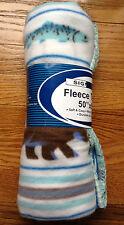 "Signature 50"" x 60"" White, Blue, Brown, & Gray Wildlife FLEECE THROW Brand New"