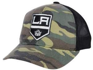 Los Angeles Kings Adidas Camo Black Mesh Structured Snapback Trucker Hat Cap