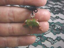 (an-dol-1) Dolphin porpoise Green Orange Unakite carving Pendant Necklace gem