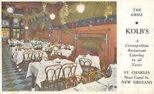 KOLB'S The Grill Restaurant Interior St. Charles New Orleans, LA c1940s Postcard