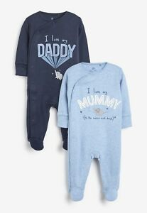 Next Baby Blue/White 2 Pack Mummy And Daddy Elephant Sleepsuits 0-3 Months