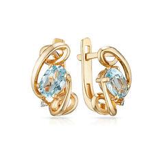 Earrings NEW Russian fine jewelry USSR style Solid Gold Rose 14K 585 2.61g topaz