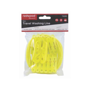 5m Travel Camping Washing Clothes Line With 12 Pegs Clip & hooks Attachment