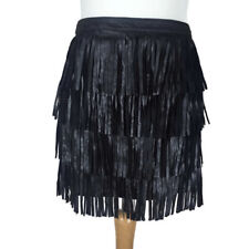 Zara Black Leather Short Mini Tiered Layer Fringe Party Evening Skirt Size Small
