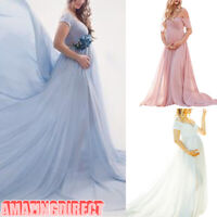 Pregnant Women Maxi Dress V-Neck Dresses Maternity Pregnancy Photography Props