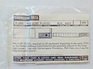 Walthers Decal HO FRA Lube Plates Dimensional Data #D-690 (Black/White) ~ TSWB