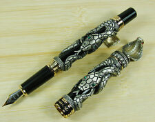 Black Lacquer with Antique Grey Overlay Jinhao Snake Series Fountain Pen