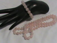 Pink Glass Bead Necklace and Bracelet