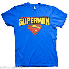 SUPERMAN Logo Blockletter  T-Shirt  camiseta cotton officially licensed