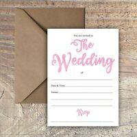 WEDDING INVITATIONS BLANK SIMPLE PINK WATERCOLOUR PACKS OF 10