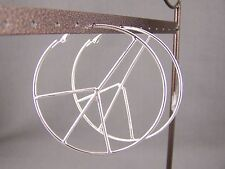 Silver tone peace sign symbol big hoop earrings NEW lever back hoops