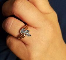 10k Yellow Gold w/ 3 Aquamarine Stones, Lady's Ring Size 5 5/8 Very Nice