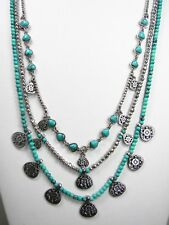 Lucky Brand Semi Precious Turquoise and Silver Tone Beaded Layered Necklace