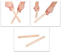 Percussion Claves Natural Wooden Pair 2 Wood Education Toddler Kids instrument