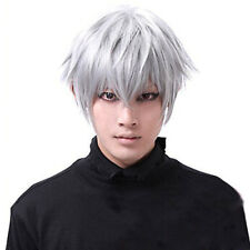 Silver Tokyo Ghoul Kaneki Ken Short Hair Straight Cosplay Hair Wig Fancy Props