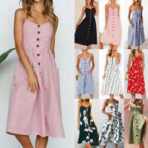 Womens Holiday Strappy Button Pocket Dress Ladies Summer Beach Midi Swing Dress