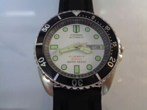 Citizen Diver Mens Watch Day & Date Automatic White Dial Silicone Bracelet kanji